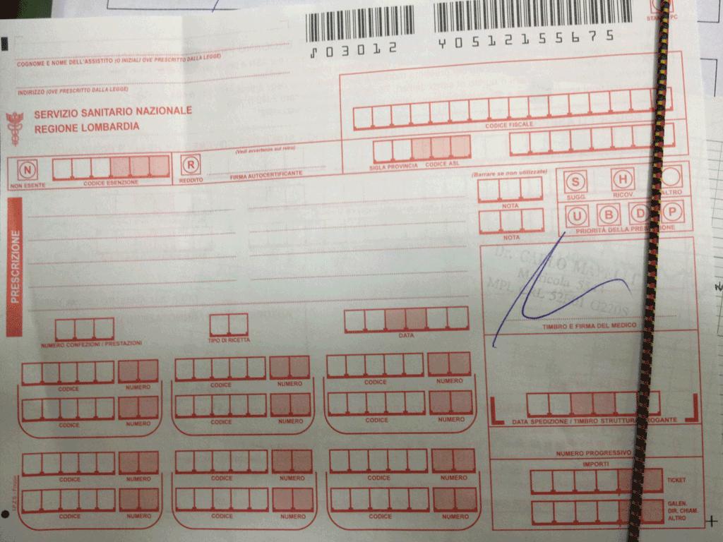 Ricetta medica firmata in bianco da Medico del Niguarda